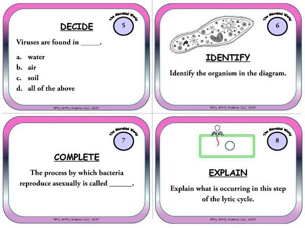 The Microbial World Page 04 - The Microbial World - Life Science Task Cards