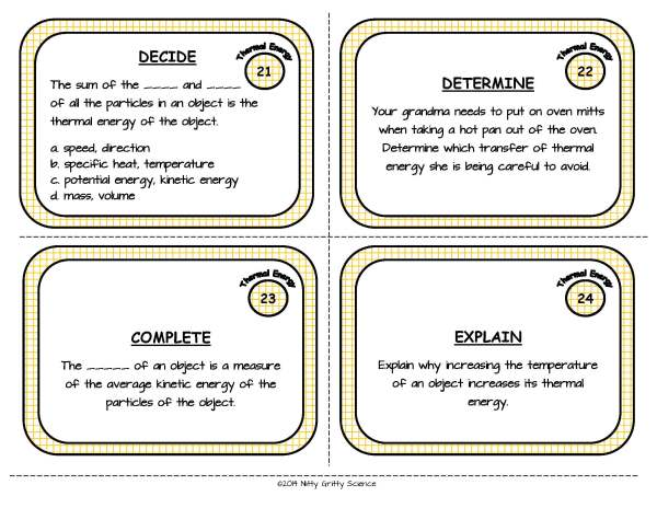 Thermal Energy Page 08 - Thermal Energy: Physical Science Task Cards