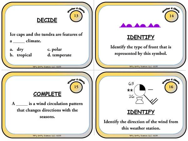 Weather and Climate Page 06 - Weather & Climate: Earth Science Task Cards