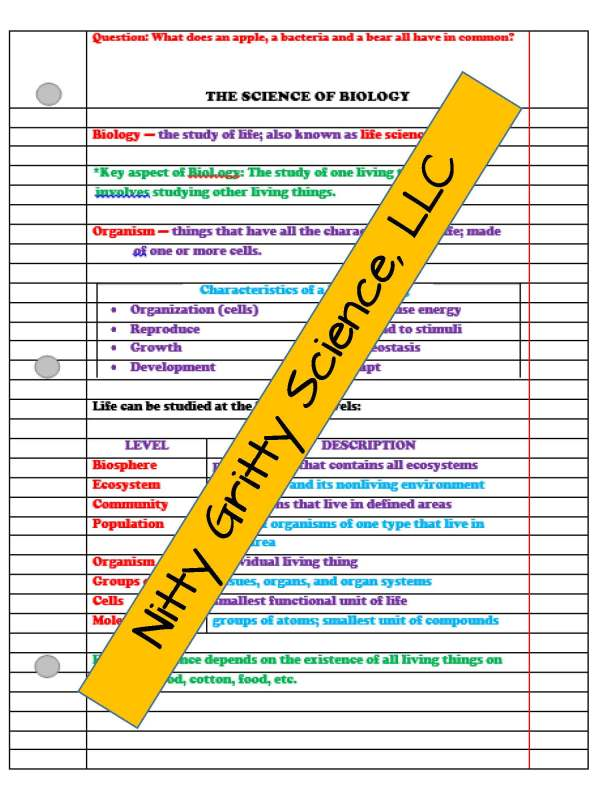 demoLifeScienceNotesPowerPointandTestIntrotoLifeScienceEDITABLE2302282 Page 3 - Intro to Life Science: Life Science PowerPoint, Notes and Test ~ EDITABLE!
