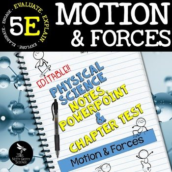 original 2405912 1 - Motion & Forces: Physical Science Notes, PowerPoint & Test ~ EDITABLE