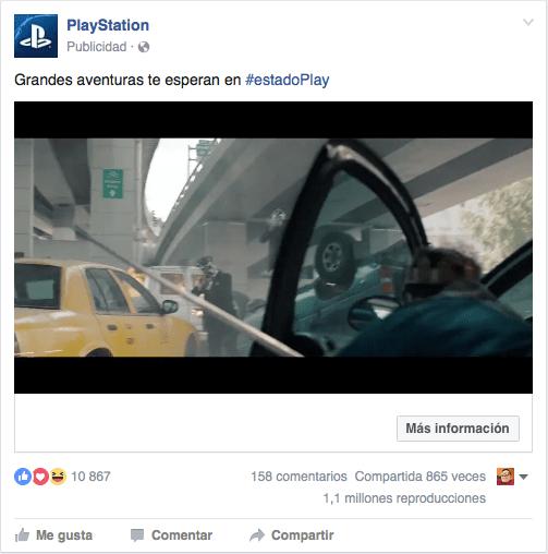 captura de pantalla de anuncio publicitario de playstation en facebook