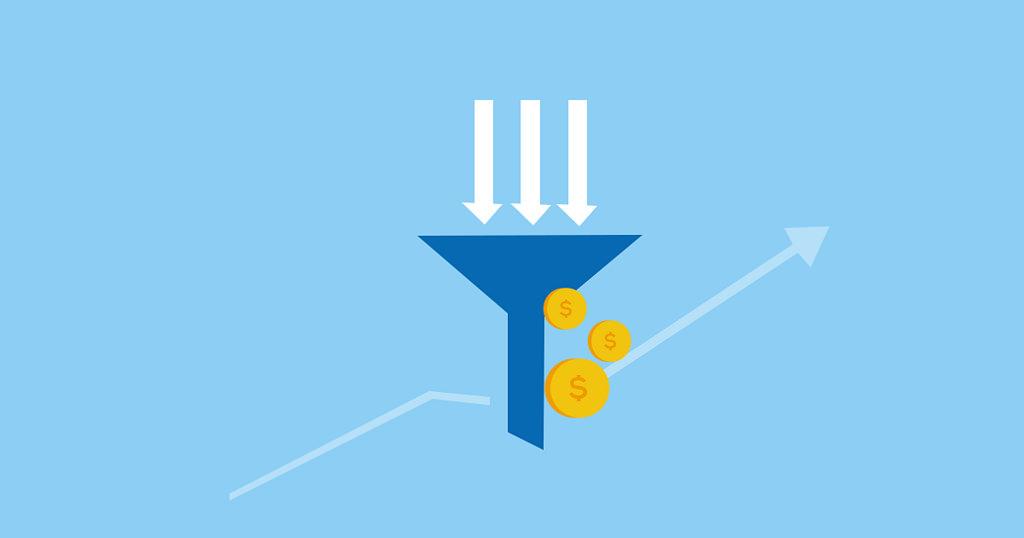 imagen ilustrativa para artículo sobre embudo de conversión, concepto de marketing y ventas