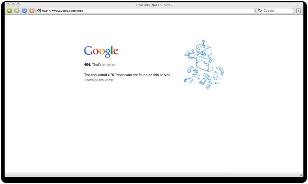 Qué Pasaría si Google se Cayera. Primero. Pantalla de Error en Google.com