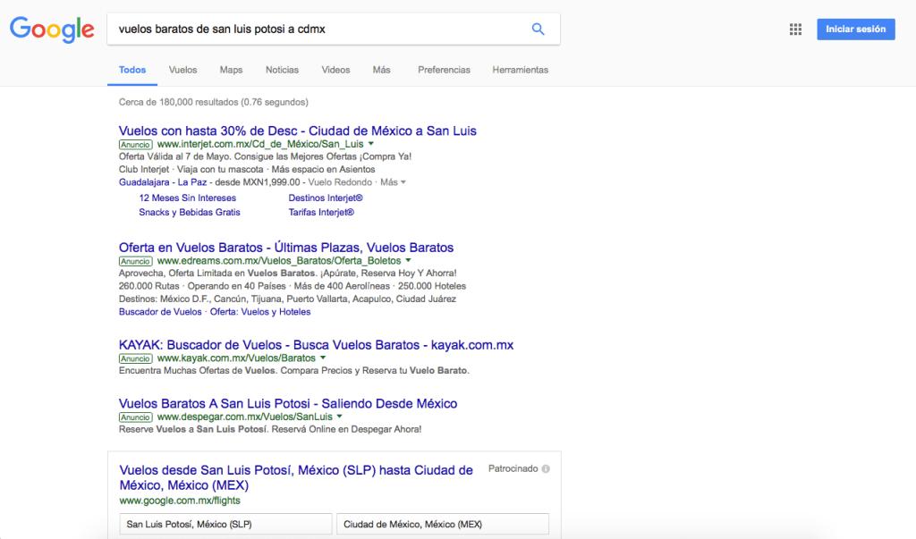 Primera Página de Resultados en Google con AdWords Arriba