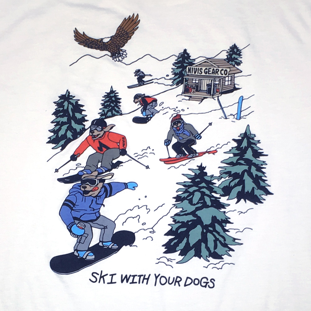 ski with your dogs t shirt