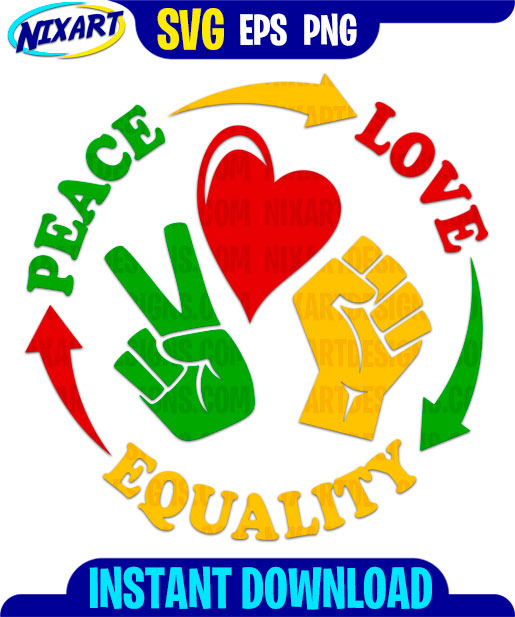 Download Peace Love Equality svg and png files for cutting and ...