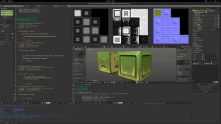 "This screenshot is from an addon script i'm working on for Blender. Not used for this project , but made later to automatize the same workflow : lots of hipoly chunks to project to corresponding lowpoly pieces .. Hence the script to process this list of hi-to-low pairs , for NM. AO and displacement. I found out Displacement maps are handy ( similarly to NM) for generating semi-procedural texturing like in DDO . The cubes in this viewport have an ""acid"" like dirt done using these bakes in Gimp and trying to match the results of DDO manually in gimp. Right now , i'm still deciding : it's certainly useful to be able to understand and do manually this stuff for better control .. but what's more important ? the control i get doing it manually or the speed you get from DDO being automatized ? depends , if it's really necessary to use many dozens of 'dirt effects' on every material, then DDO is faster ... but maybe doing just a few selected and significant dirts is ""cleaner"" and more effective ? (more about this question soon !)"