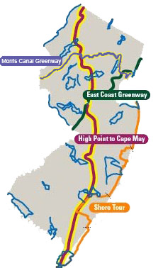 Greenways in New Jersey. Source: New Jersey Department of Transportation and Dan Cahalane / Alan M. Voorhees Transportation Center