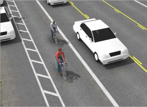 """A striped buffer area reduces the chance of a """"dooring"""" accident when bicycle lanes are adjacent to parked cars."""