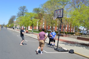 Rutgers students playing basketball