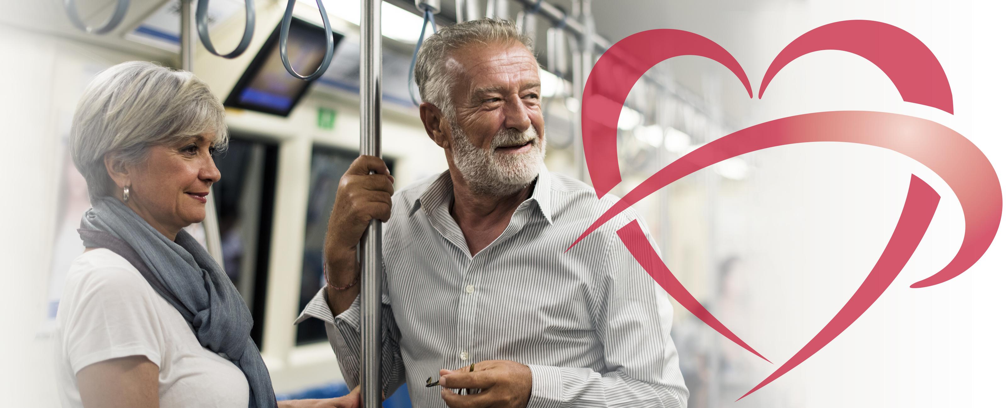 Older couple on subway