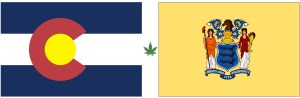 Image of Colorado and New Jersey Stat Flags.