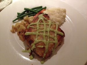 Tilapia in Phyllo, crab and pecans stuffing with spring onion vinaigrette