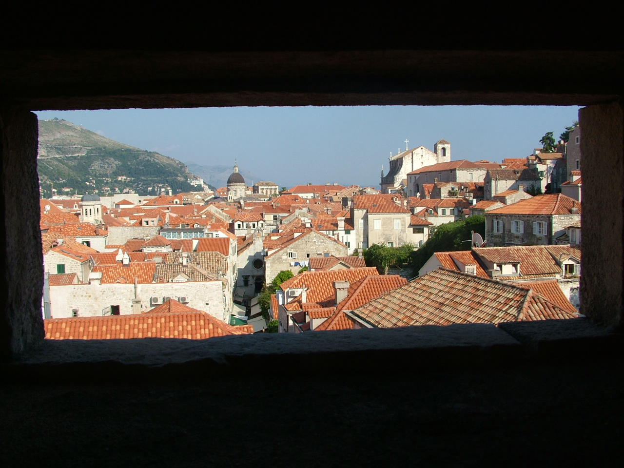 Dubrovnik old town from one of the wall forts
