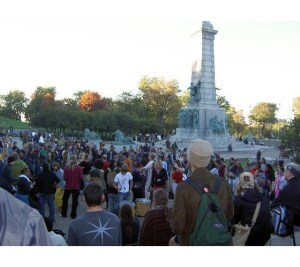 Montreal Tam Tam Sundays, a descendant from those 1967 Love-ins, at the George-Étienne Cartier Monument in Fletcher's Field (photo Virtual Tourist)