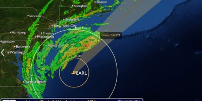 Hurricane Earl, 185 miles from New York City and Boston