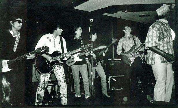 Bob Dylan, John Fogerty, George Harrison, Jesse Ed Davis, and Taj Mahal at the Palomino Club 1987