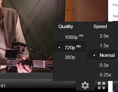 YouTube Settings with HTML5