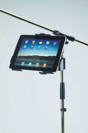 iPad holder for a microphone stand