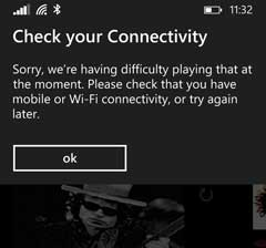 Xbox Music error message when streaming purchased songs