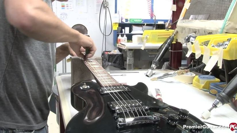 Gibson electric guitar final assembly