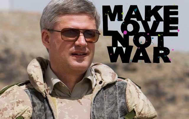 Stephen Harper photo  THE CANADIAN PRESS/Sean Kilpatrick | CP, Make Love Not War graphic allycat7722 Glogster.com