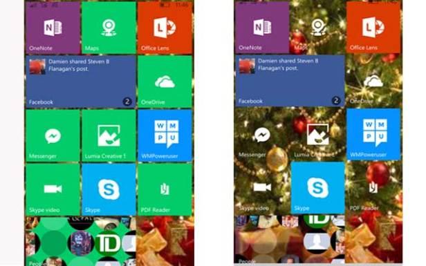 Windows 10 Mobile start screen transparency (NJN photo)
