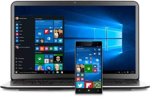 Windows 10 and Windows 10 Mobile start screen (Microsoft photo)
