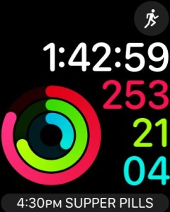 """Apple Watch - Activity Digital Face - <span style=""""color: #ff0000;""""><strong>red ring</strong></span> = move energy, <strong><span style=""""color: #00ff00;"""">green ring</span></strong> = exercise minutes, and <strong><span style=""""color: #00ffff;"""">cyan ring</span></strong> = # times you move or stretch per 12 hours (screenshot NJN Network)"""