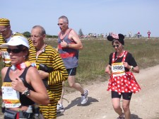 About 18 miles into the run and they still sport full costume