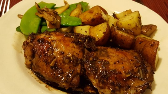 Balsamic chicken with sno peas and shiitakes