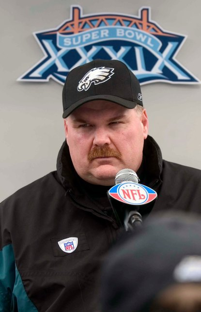 Andy Reid fields questions from the media Tuesday at Alltel Stadium, Jacksonville Fla. SCOTT ANDERSON / Courier-Post