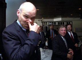 Polictial expert James Carville arrives at a fund-raiser for James Florio, Democratic candidate for the U. S. senate.