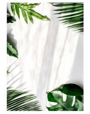 Tropical-green-leaves-welcome-board