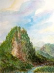 Fantasy landscape rock slide
