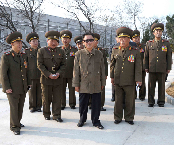 Taken recently?  Kim Jong-il grinning during his inspection of KPA Unit 1224.  Gen. Ri Myong-su is at the far left and a man who appears to be MPAF General Political Bureau Gen. Kim Jong-gak is at the far right (Photo: KCNA)