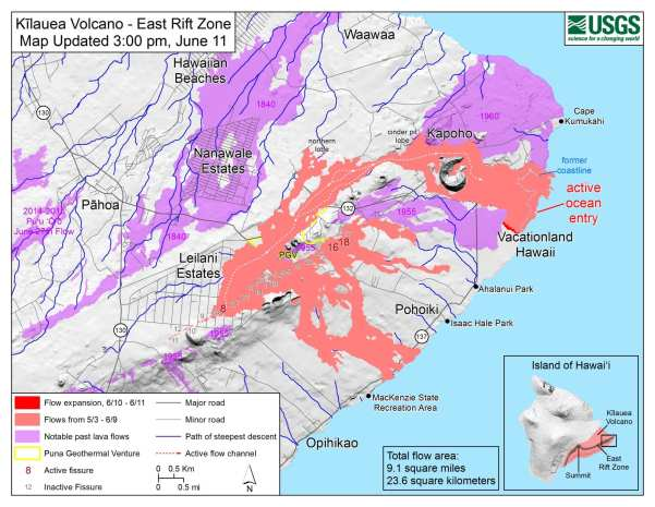 Kīlauea lower East Rift Zone lava flows and fissures, June 11, 3:00 p.m. HST