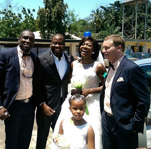 Susan Peters with her husband, Desmond Elliot and others
