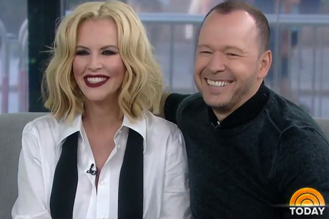 Jenny McCarthy and Donnie Wahlberg smiling at 170913 Donnie Wahlberg Jenny McCarthy Kathie Lee and Hoda show