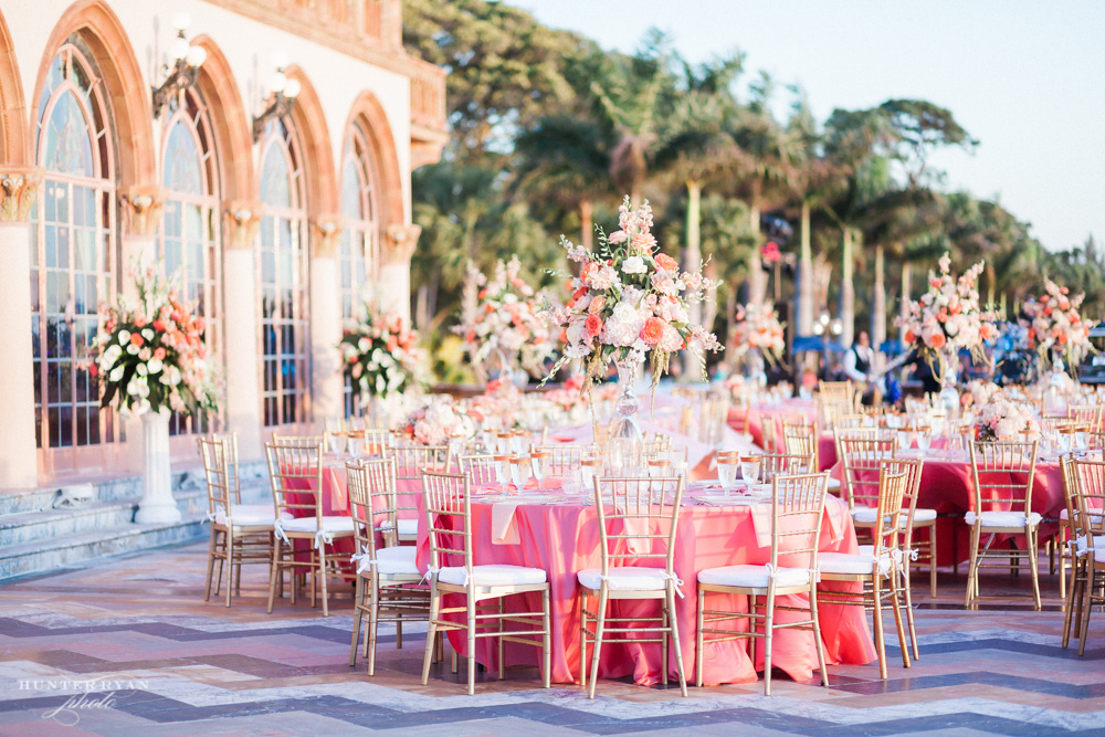 Coral and Gold Ca d Zan Wedding