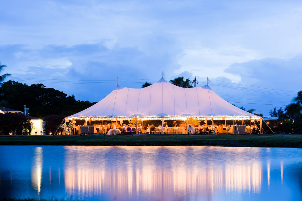 Waterfront Open Air Tent Reception at Night in Boca Raton