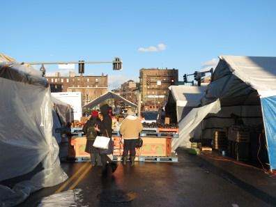Street market in sub zero temperature