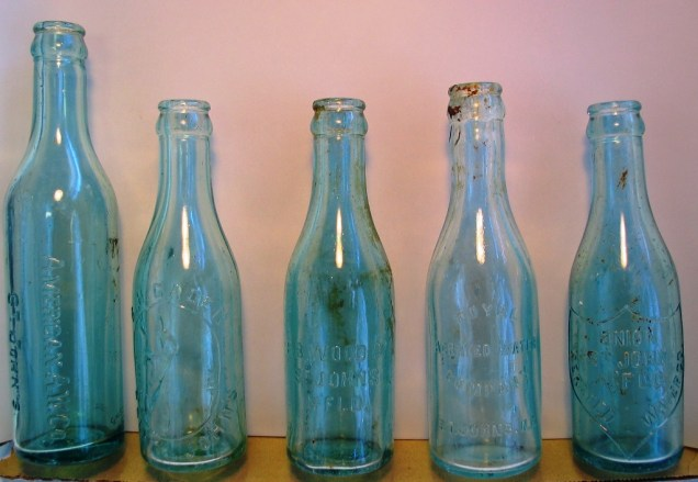 Assorted soft drink bottles from the cellars. All of the bottles were produced by St. John's soft drink and aerated water manufacturers