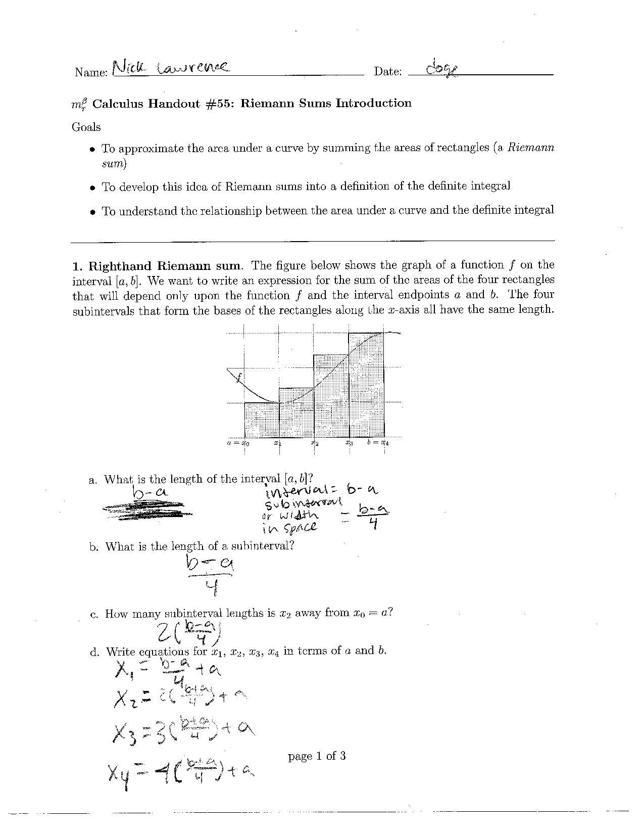 Riemann Sums Nlawrencecalculus