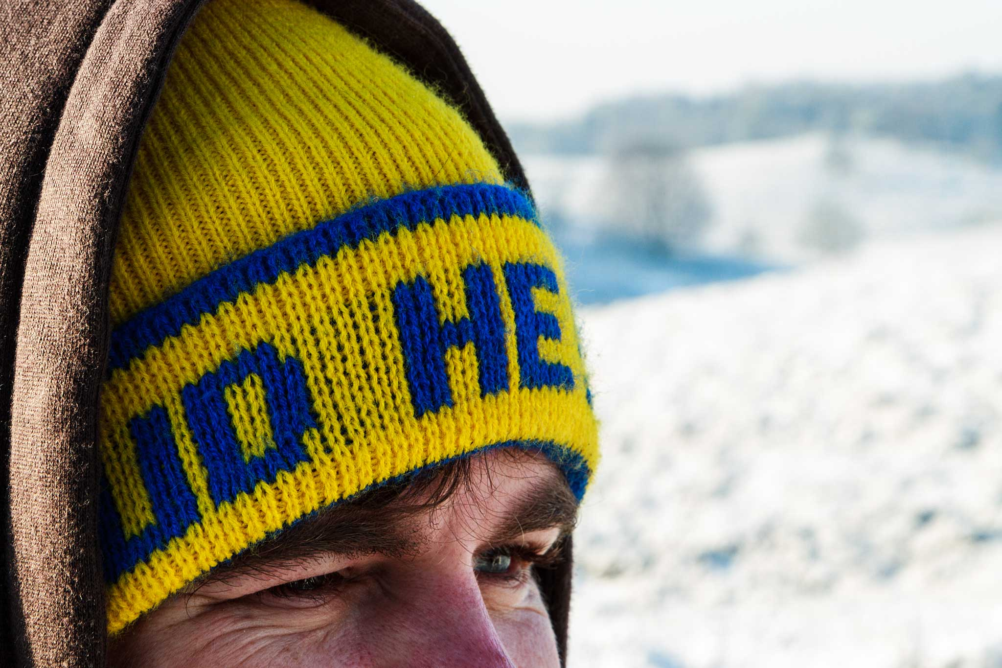 koud he, Spaan en Vermegen, muts, man, ogen, sneeuw, koude, wit, winter, Nederland, Posbank