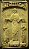 A byzantine ivory panel depicting emperor Otto II and Theophanu