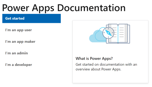 Power Apps documentation menu