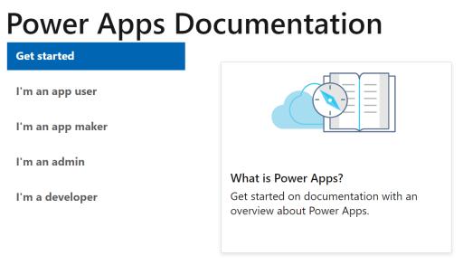 Power Apps documentation menu