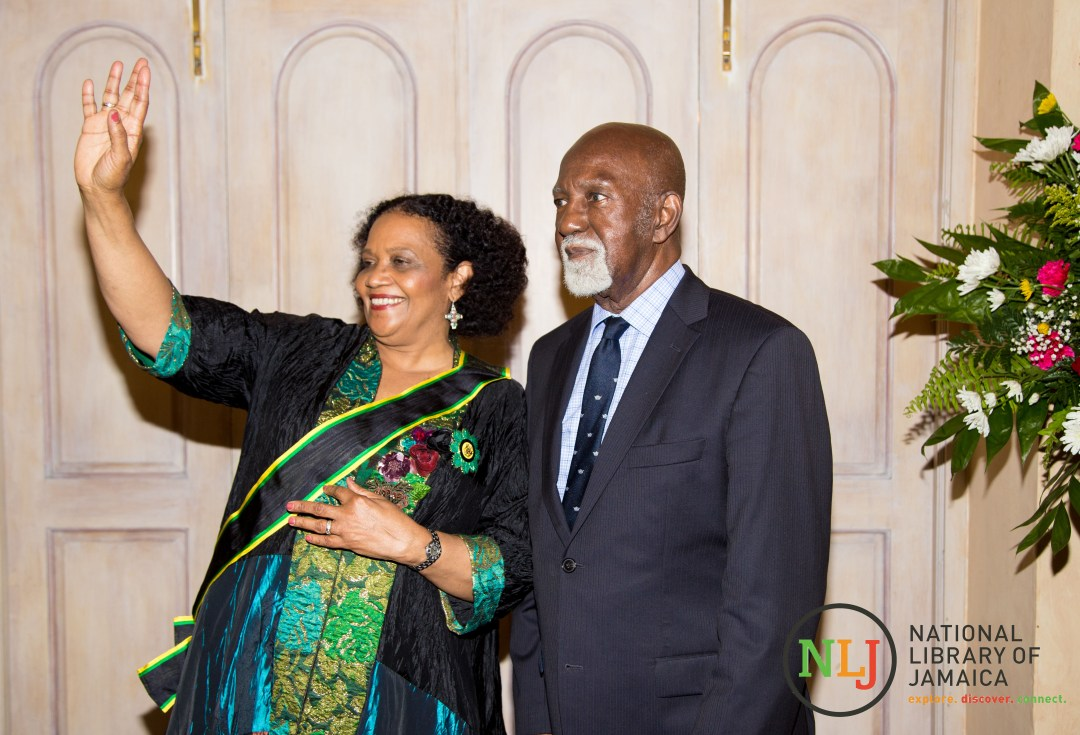 Newly invested Poet Laureate of Jamaica 2017-2020, Lorna Goodsion, stands with Poet Laureate of Jamaica 2014-2017, Mervyn Morris,